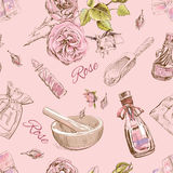 Rose natural cosmetic seamless pattern. Royalty Free Stock Images