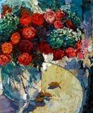Rose nella pittura a olio di vetro di struttura del primo piano del vaso fotografia stock libera da diritti