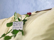 Rose with a note. Handwritten note, with a rose, resting on pillow Royalty Free Stock Photo