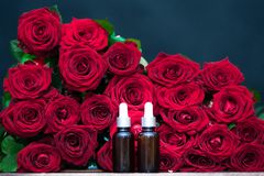 Rose oil, Bottles and fresh flower and leaves. On a natural background, bio, organic , nature cosmetics concept royalty free stock images