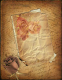 Rose and old paper with the hand-written text vector illustration