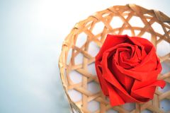 Rose origami red rose with basket royalty free stock photo