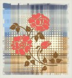 Rose over halftone background Stock Photo