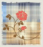 Rose over halftone background Stock Images