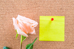 Rose with paper note Stock Photography