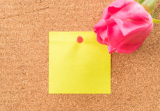 Rose with paper note Royalty Free Stock Image