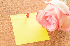 Rose with paper note Royalty Free Stock Photo