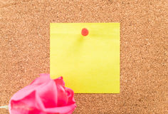 Rose with paper note Royalty Free Stock Photos
