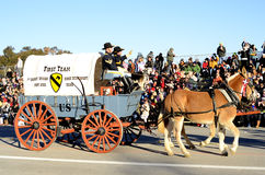 Rose Parade Cavalry Wagon. Image of the cavalry wagon in the 2015 Rose Parade.  Illustrates a type of equestrian entry in the parade Stock Photo