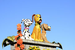 Rose Parade Dogs. An image of 3 dogs featured on Dig Alert Float in the 2015 Rose Bowl Parade.  Sponsored by Underground Services Alert, it won the Bob Hope Royalty Free Stock Images