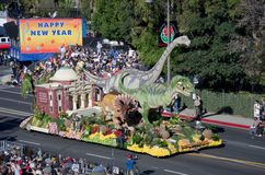 Rose Parade float with dinosaurs Stock Photo