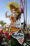 Rose Parade float with female figure  Royalty Free Stock Images