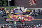 Rose Parade float with globe and flags Royalty Free Stock Photo