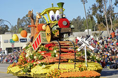 Rose Parade Train Float. Image of the I Think I Can float taken during the 2015 Rose Parade.  The float won the Mayors Award for Most Outstanding City Entry Stock Images