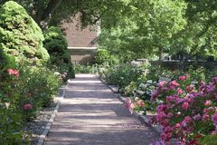 Rose Path bei Merrick Rose Garden lizenzfreies stockbild