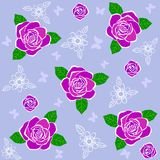 Rose pattern. Illustration seamless vector background beautiful lilac roses Stock Images