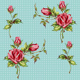 Rose pattern on blue Royalty Free Stock Images