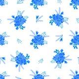 Rose pattern-01 mignon bleu Photographie stock libre de droits