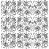 Rose pattern with sketch flowers and leafs. Stock Photography