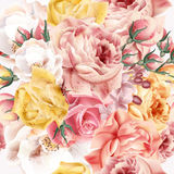 Rose pattern with vector realistic pink and beige roses for desi. Flower rose pattern with vector realistic pink and beige roses for design Royalty Free Stock Photos