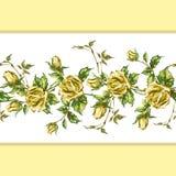 Rose pattern on white horizontal Stock Image
