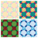 4 rose patterns. 4 rose patterns colorful background Stock Illustration