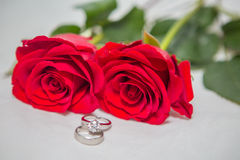 Rose, pearl and diamond ring Royalty Free Stock Photo