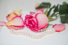 Rose, pearl and diamond ring Stock Photo