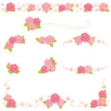 Rose pearl frame. Set of decorative roses and pearls Stock Photos