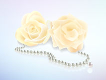 Rose and pearl necklace. Illustration of rose flowers and pearl necklace Royalty Free Stock Images