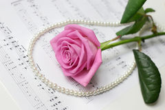 Rose&pearl necklace Stock Images