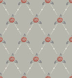 Rose and pearl seamless pattern, retro style. Rose and pearl seamless pattern, old fashioned in soft green, beige, red colors, neutral Royalty Free Stock Photos