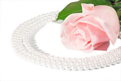Rose and pearls. Stock Photo
