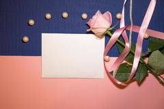 Heart envelope with a rose and pearls stock images