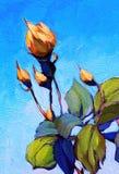 Rose, peignant par l'huile sur la toile Photo stock