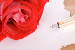 Rose and pen Royalty Free Stock Image
