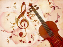 Rose pentals and violin Stock Photo