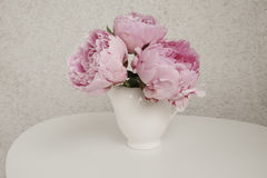 Rose peonies  on a white table. Rose peonies in a white vase on a white table with nutral background Stock Photography