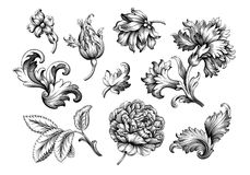 Rose peony flower vintage Baroque Victorian frame border floral ornament scroll engraved retro pattern tattoo filigree vector set. Rose peony carnation flower stock illustration