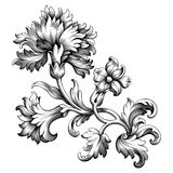Rose peony flower vintage Baroque Victorian frame border floral ornament scroll engraved retro pattern tattoo filigree vector. Rose peony carnation flower stock illustration
