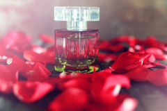 Rose perfume bottle and petal Stock Images