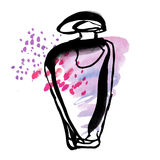 Rose perfume bottle sketch. Stock Images