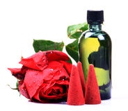 Rose perfume and mud cones Royalty Free Stock Photo