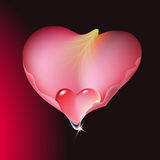Rose petal. With heart shaped water drop royalty free illustration