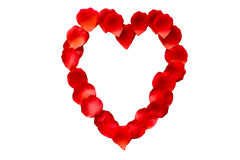 Rose Petal Heart Shaped Frame. Rose petal heart shape on an isolated background Royalty Free Stock Images
