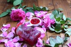Rose Petal Jam. Pink petals, natural recipe stock photos