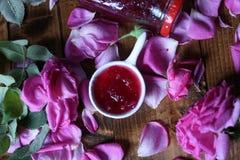 Rose Petal Jam. Pink petals, natural recipe royalty free stock photos