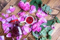 Rose Petal Jam. Pink petals, natural recipe royalty free stock image