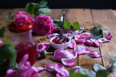 Rose Petal Jam. Pink petals, natural recipe stock images
