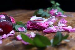 Rose Petal Jam. Roses Petal Jam, natural recipe, a wooden background stock photos